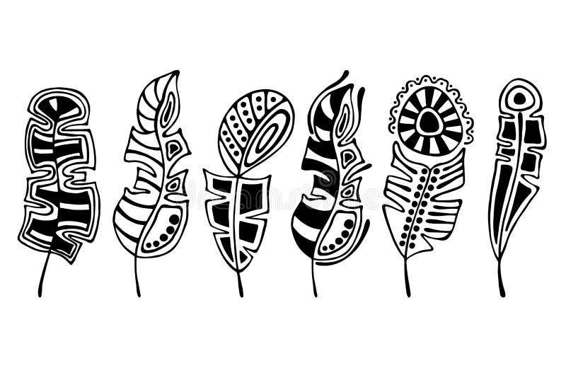 Vectorreeks van hand getrokken illustratie, decoratieve sier gestileerde veer Zwart-witte grafische die illustratie op Th wordt g vector illustratie