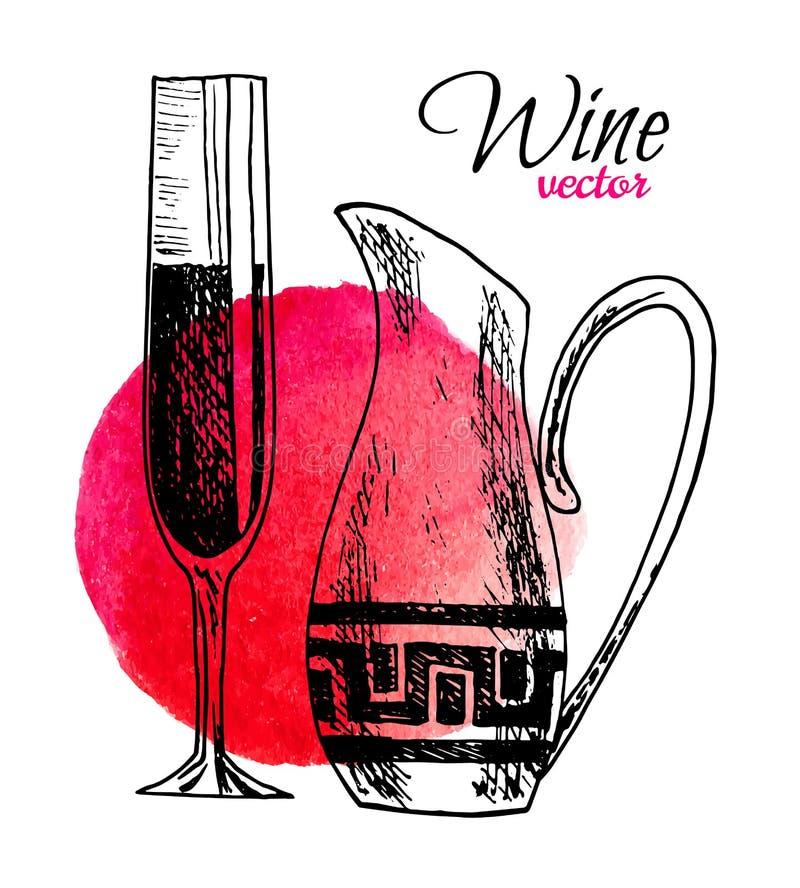 Vectorreeks van hand getrokken wijnwaterkruik en een glas van wijnillustratie op waterverfachtergrond voor menu of restaurant royalty-vrije illustratie