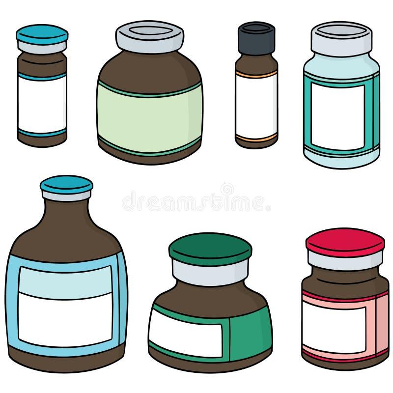 Vectorreeks van het flesje van de injectiegeneeskunde stock illustratie