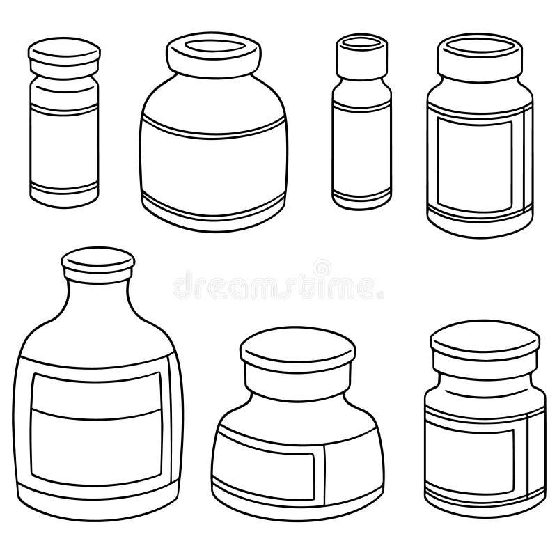 Vectorreeks van het flesje van de injectiegeneeskunde royalty-vrije illustratie