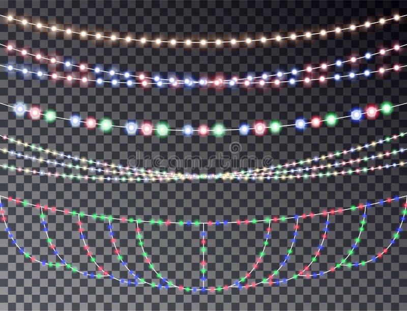 Vectorreeks van het overlappen, gloeiende transparante lichte die slingers op een donkere achtergrond worden geïsoleerd christus royalty-vrije illustratie