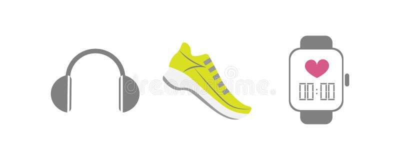 Vectorreeks van het runnen van sportpictogrammen - loopschoen, slim horloge, draadloze oortelefoons - voor sportteam, agentclub,  vector illustratie