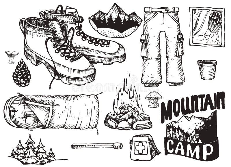 Vectorreeks van hoogst gedetailleerd hand getrokken het kamperen materiaal Uitstekende tekensinzameling vector illustratie
