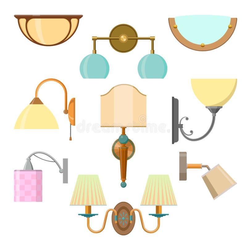 Vectorreeks van huislicht in vlakke stijl Illustratie met lampen op witte achtergrond stock illustratie