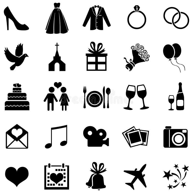 Vectorreeks van 25 Huwelijkspictogrammen royalty-vrije illustratie