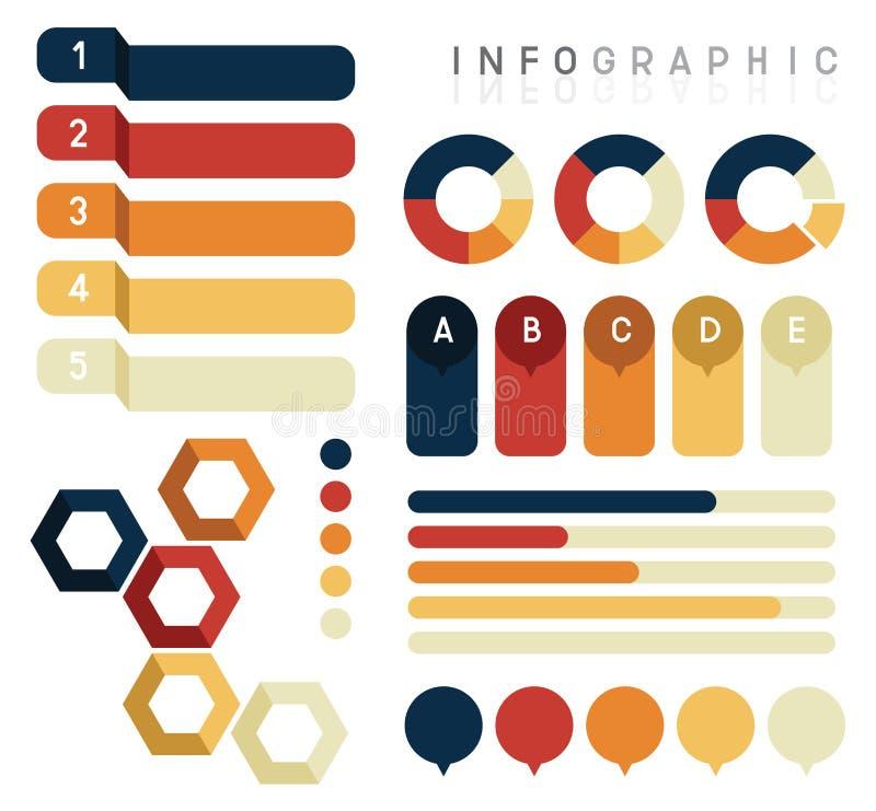 Vectorreeks van informatie grafisch ontwerp, diagram voor presentatiemalplaatje af:drukken vector illustratie
