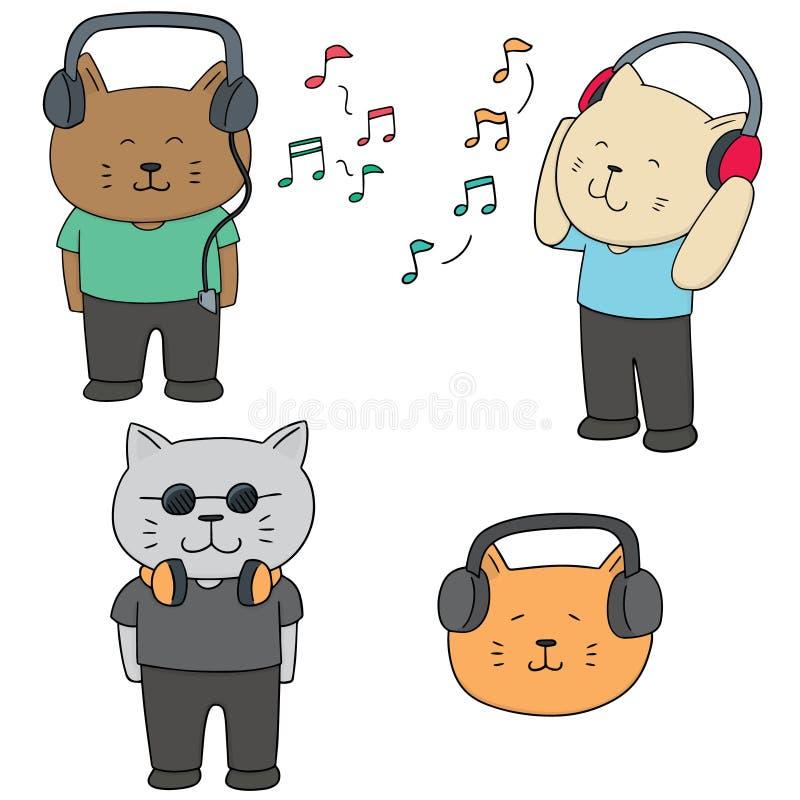 Vectorreeks van kat het luisteren muziek royalty-vrije illustratie