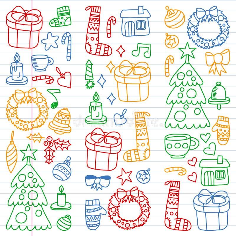 Vectorreeks van Kerstmis, de dagen 2019, 2020, illustratie van de vakantiewinter Het patroon van het nieuwjaar, de tekeningen van royalty-vrije illustratie
