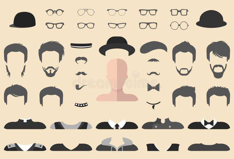 Vectorreeks van kleding op aannemer met verschillende glazen, baard, snor, slijtage in vlakke stijl De mannelijke schepper van he royalty-vrije illustratie