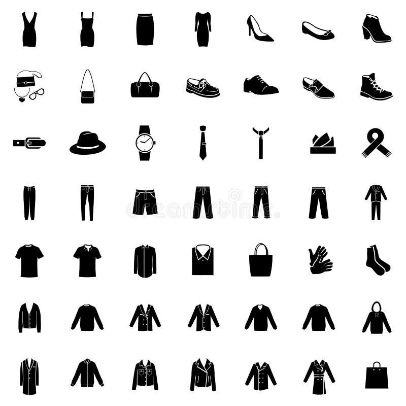 Vectorreeks van 49 Klerenpictogrammen stock illustratie