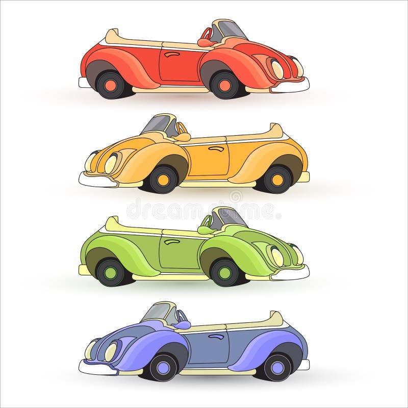 Vectorreeks van kleurrijk die Toy Cars op witte achtergrond wordt geïsoleerd royalty-vrije illustratie