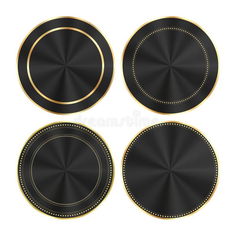 Vectorreeks van kleurrijke glanzende zwarte met gouden en centric cirkels om medailles die als knopen, banners, etiketten kunnen  royalty-vrije illustratie