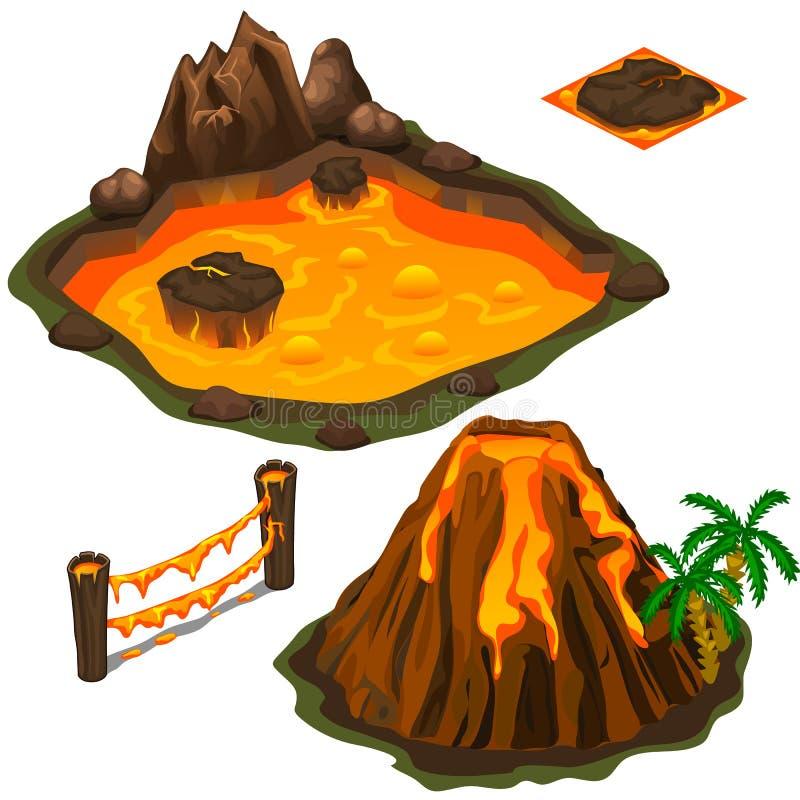 Vectorreeks van lavapool, vulkaan, omheining en dekking stock illustratie