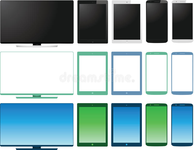 Vectorreeks van lcd de monitor van TV, tablet en slimme pho stock illustratie