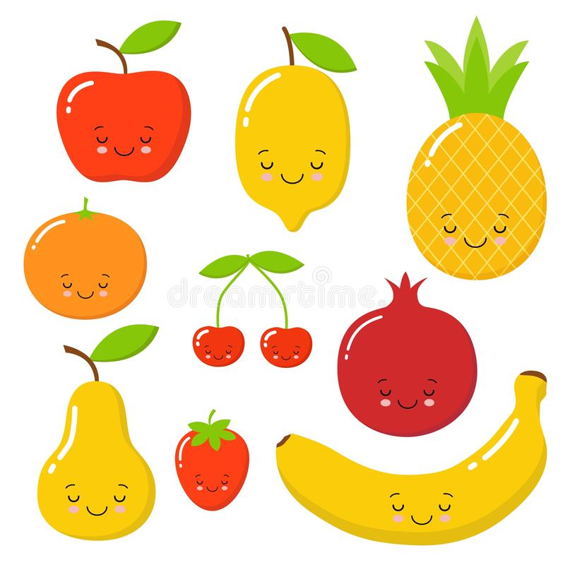 Vectorreeks van leuk fruit zeer zoete appel, watermeloen, avocado, peer, citroen, aardbei, ananas stock illustratie