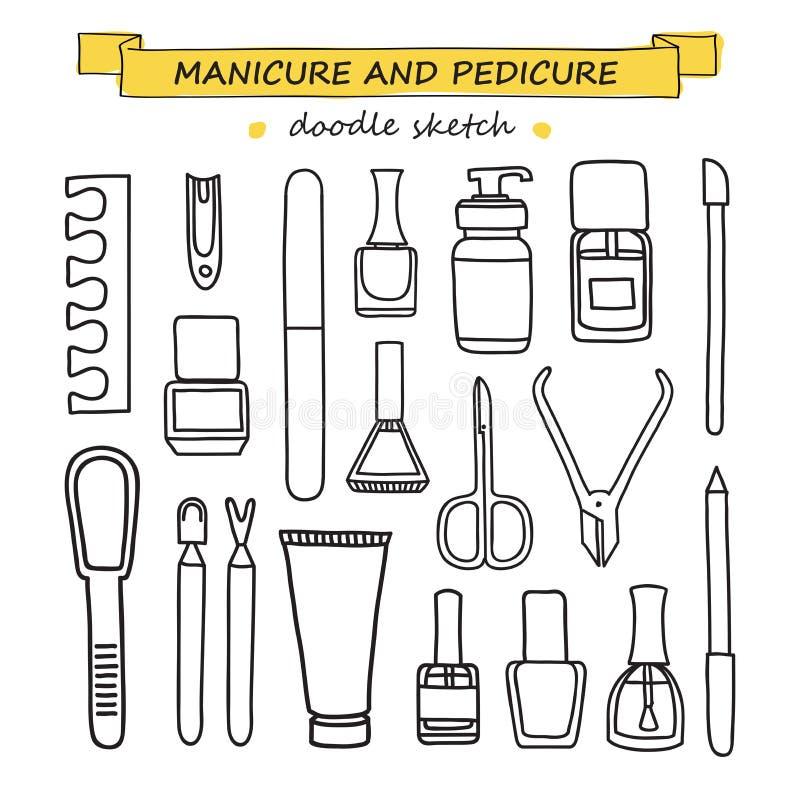 Vectorreeks van manicure en pedicurekrabbelmateriaal stock illustratie