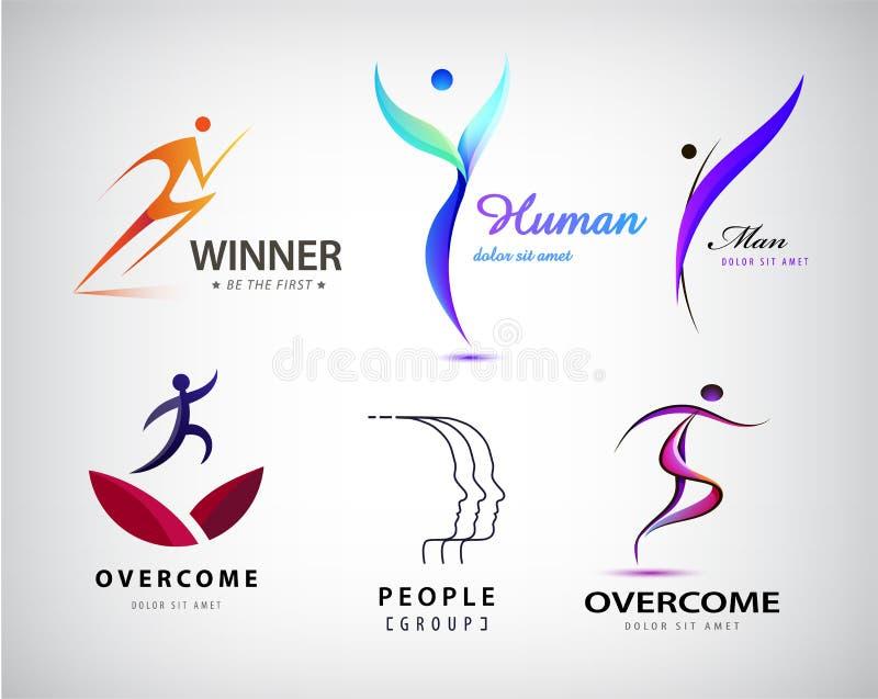 Vectorreeks van mensenembleem, menselijk gestileerd lichaam, Leider, winnaar stock illustratie