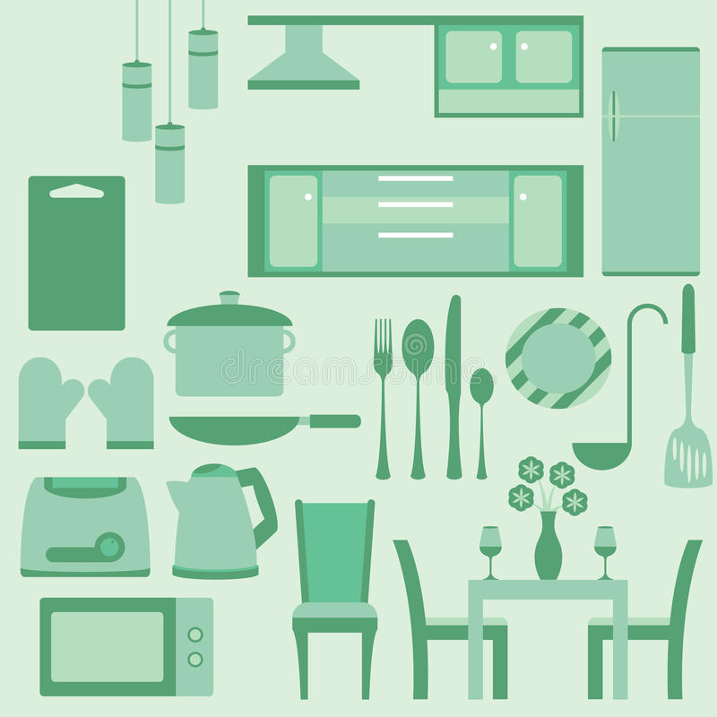 Vectorreeks van meubilair in kitchenroom vector illustratie