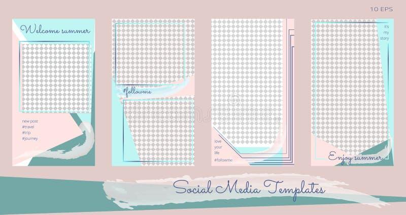 Vectorreeks van modern editable verhalenmalplaatje voor blogpost vector illustratie