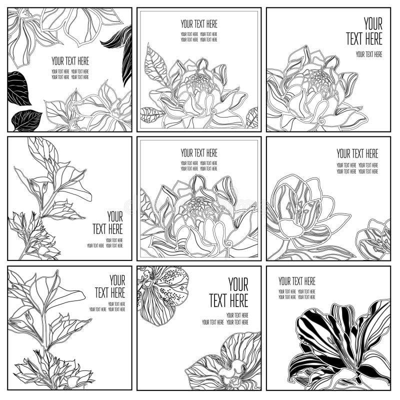 Vectorreeks van modieuze zwarte bloemenachtergrond stock illustratie