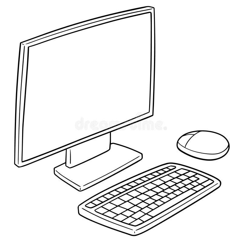 Vectorreeks van monitor, toetsenbord en muis vector illustratie