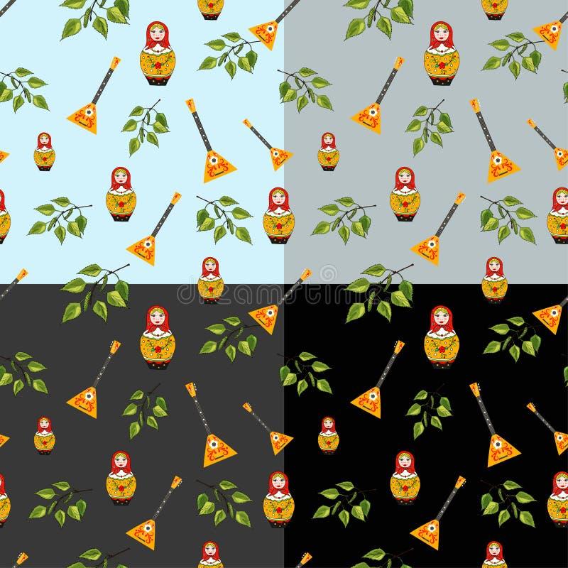 Vectorreeks van naadloos patroon van een Russische pop, een tak van de berkboom, een balalaika royalty-vrije illustratie