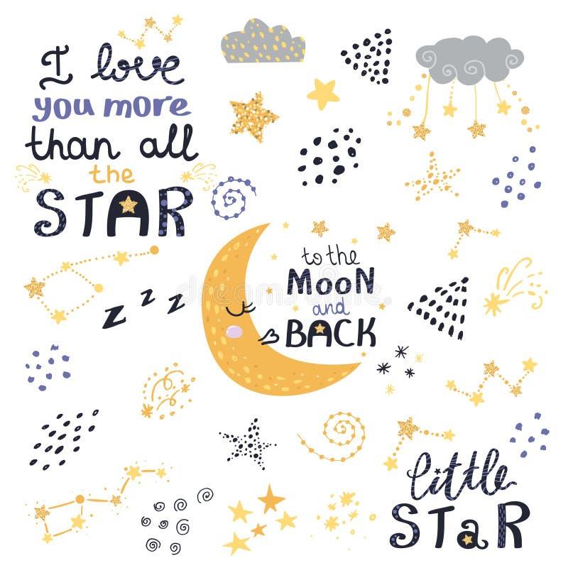 Vectorreeks van nacht het van letters voorzien met leuke uitdrukkingen royalty-vrije illustratie