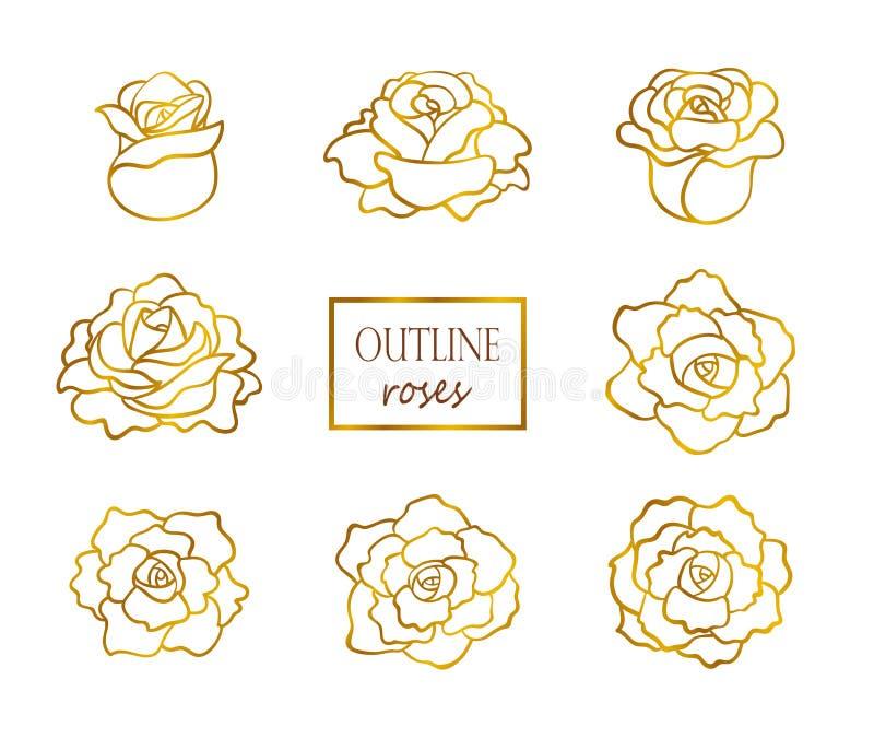 Vectorreeks van overzichts gouden rozen, zij en hoogste mening royalty-vrije illustratie