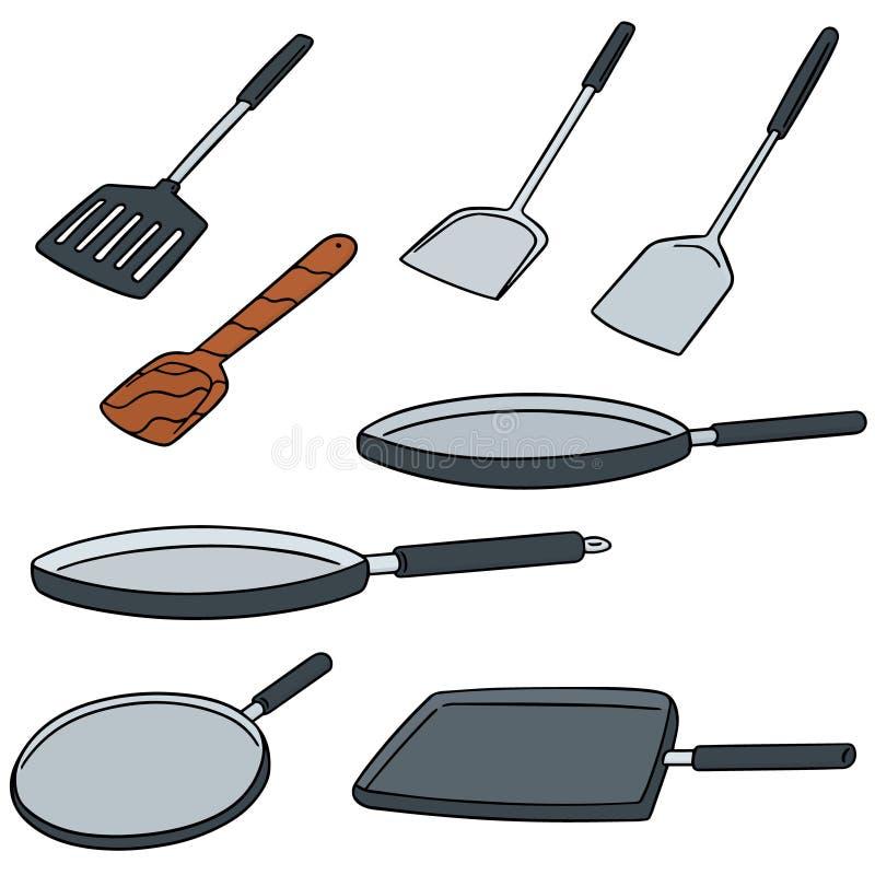 Vectorreeks van pan en vin vector illustratie