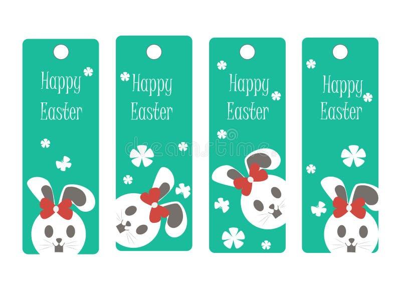 Vectorreeks van Pasen-referentie Gelukkige Pasen, konijn stock illustratie