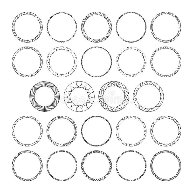 Vectorreeks van rond decoratief patronenkader voor ontwerp stock illustratie