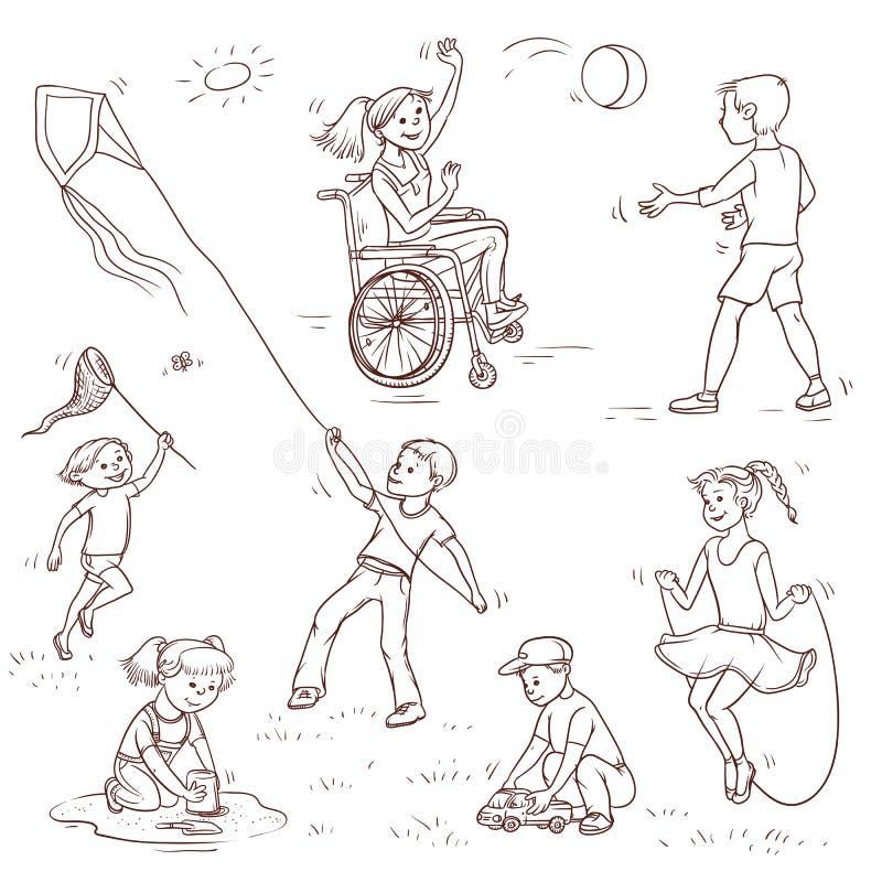 Vectorreeks van schetsillustratie van kinderen Het meisje in rolstoel actief balspel met de jongen, het kind vangt a vector illustratie