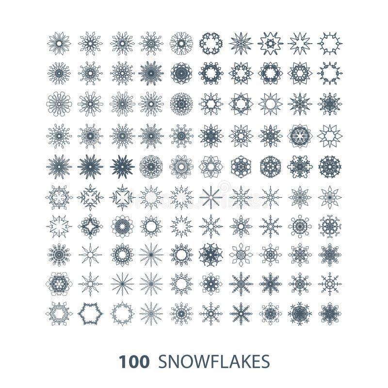 Vectorreeks van 100 sneeuwvlokvormen stock illustratie