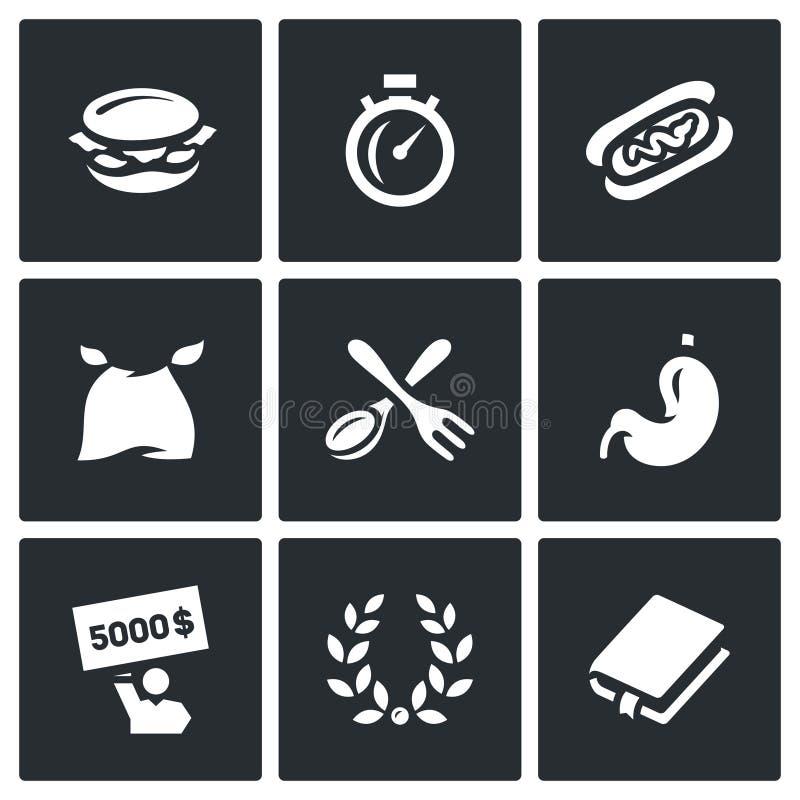 Vectorreeks van Snelheid die Wedstrijdpictogrammen eten Hamburger, Chronometer, Burrito, Eter, Vork en Lepel, Maag, Winnaar, Glor vector illustratie