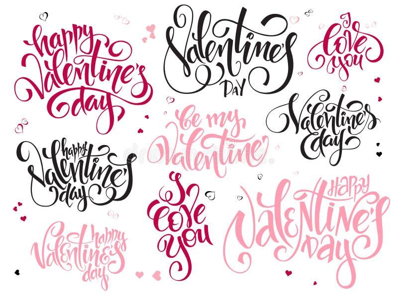 Vectorreeks van teksten van de daggroeten van hand de van letters voorziende valentijnskaarten - gelukkige valentijnskaartendag,  royalty-vrije illustratie