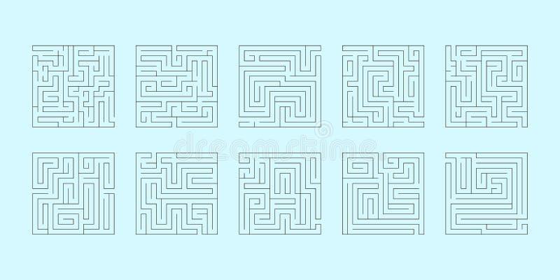 Vectorreeks van tien vierkante labyrinten stock foto