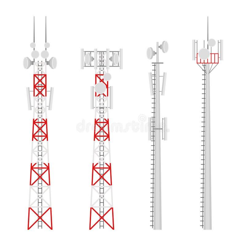 Vectorreeks van transmissie de cellulaire draadloze torens royalty-vrije illustratie
