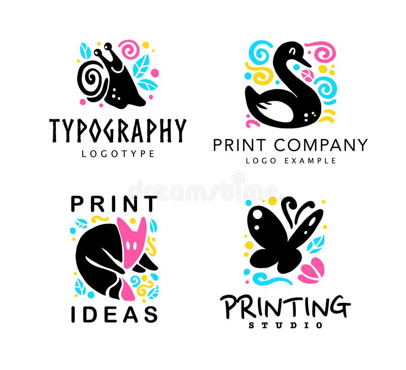 Vectorreeks van typografie en ontwerpstudioembleem met leuke dieren - vos, slak, zwaan en vlinder stock illustratie
