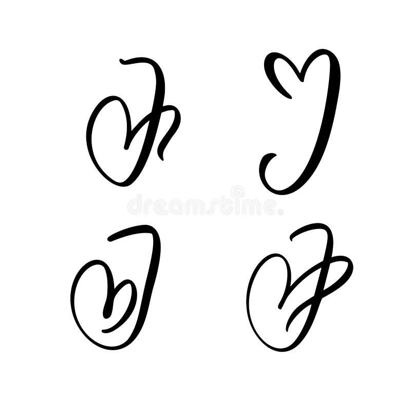 Vectorreeks van Uitstekend bloemenbrievenmonogram J Het kalligrafieelement Valentine bloeit Hand getrokken hartteken voor paginad vector illustratie