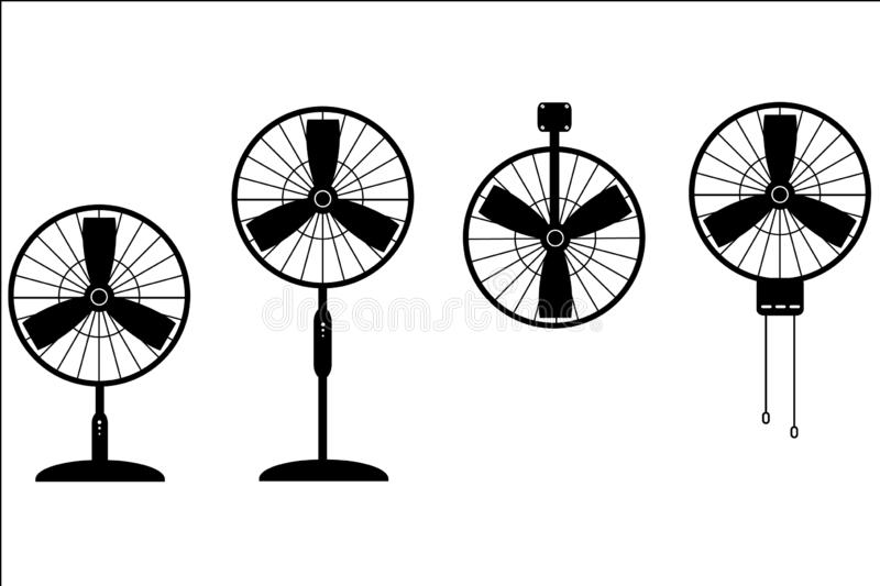 Vectorreeks van ventilator vector illustratie