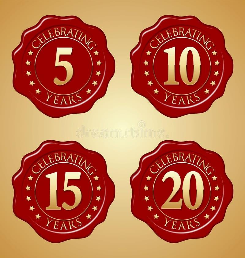 Vectorreeks van Verbinding vijfde, tiende, vijftiende, twintigste van de Verjaardags de Rode Was royalty-vrije illustratie
