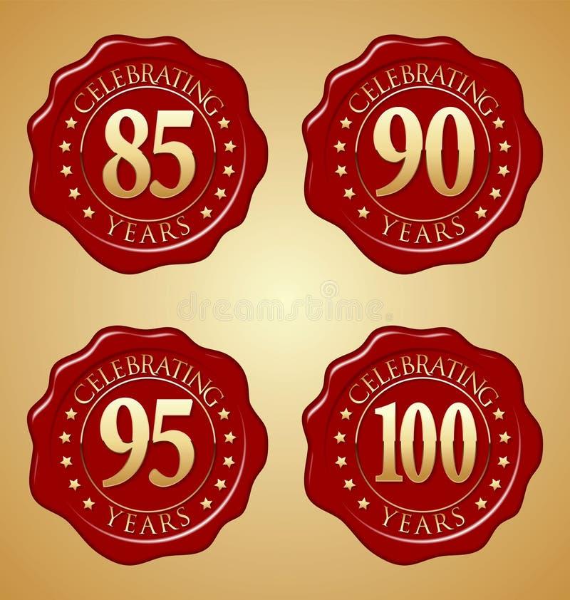 Vectorreeks van Verbinding vijfentachtigste, negentigste, vijfennegentigste, 100ste van de Verjaardags de Rode Was royalty-vrije illustratie