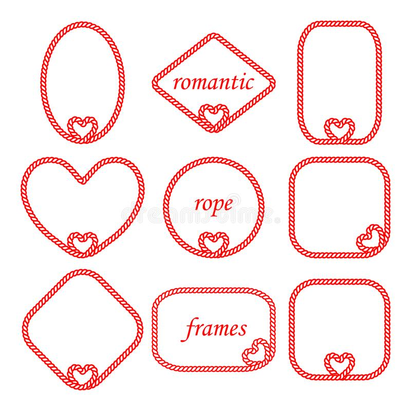 Vectorreeks van verdraaid kader van het koord en de kabel voor de dag van Valentine ` s vector illustratie