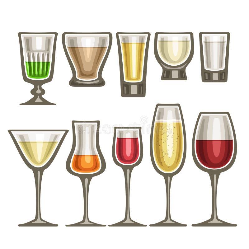 Vectorreeks van verschillend glaswerk vector illustratie