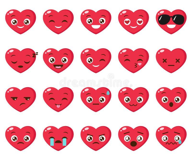Vectorreeks van verschillende hartemoji stock illustratie