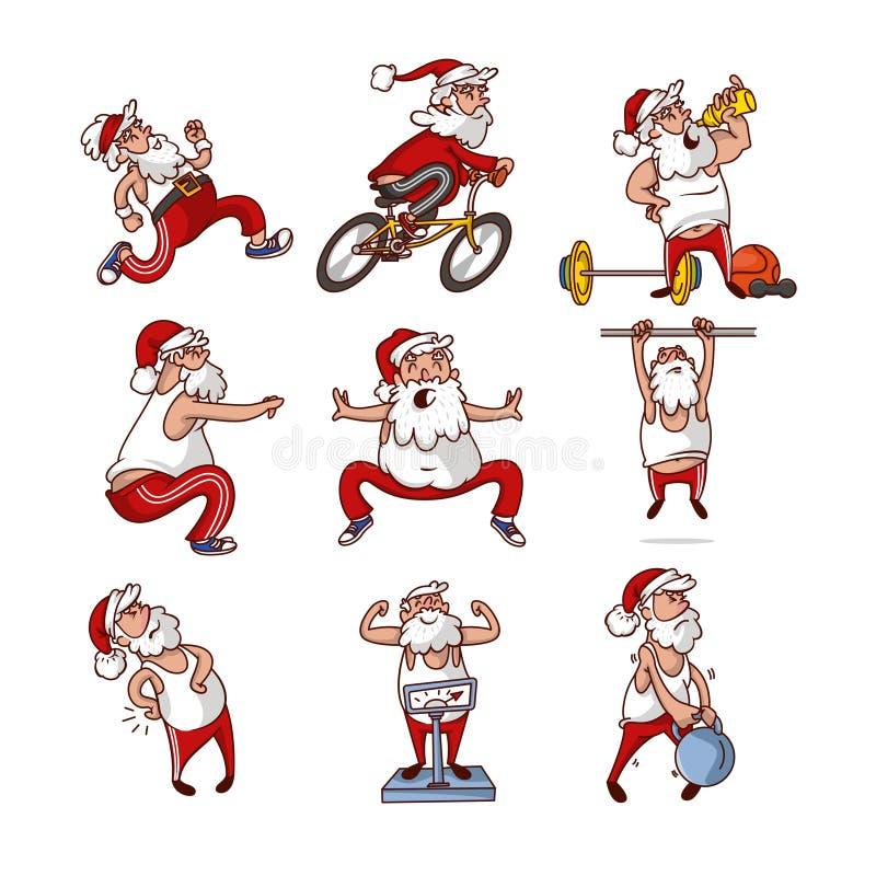 Vectorreeks van vette Santa Claus in verschillende acties De oude gebaarde mens neemt sporten in dienst Fysische activiteit Het k stock illustratie