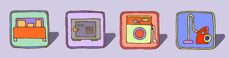 Vectorreeks van vier hand-drawn pictogrammen, retro kleurenschets stock illustratie