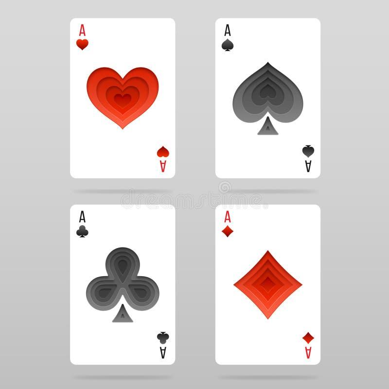 Vectorreeks van vier kostuums van azenspeelkaarten royalty-vrije illustratie