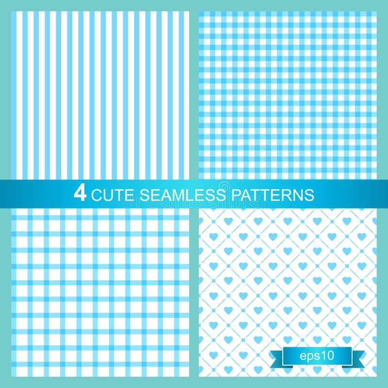 Vectorreeks van vier leuke blauwe naadloze patronen stock illustratie