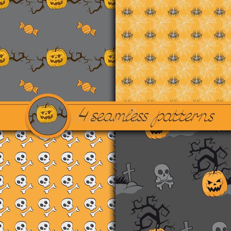 Vectorreeks van vier naadloze patronen van Halloween stock illustratie